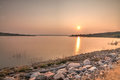 Sunset on the Missouri River Royalty Free Stock Photo