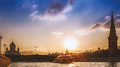 Sunset on the moscow river panorama with ship Stock Photography