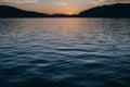 Sunset at mountain beach on summer season in Montenegro Royalty Free Stock Photo