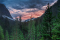 Sunset in the mountains dolomites by town of cortina d ampezzo Royalty Free Stock Photos