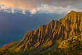Sunset at Napali Coastline Royalty Free Stock Photo