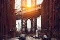 Sunset in New York City. Dumbo area with Manhattan Bridge scenic view Royalty Free Stock Photo