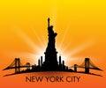 Sunset New York City skyline Statue of liberty Vector Royalty Free Stock Photo