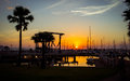 Sunset at  The Ocean Marina Yacht Club. Royalty Free Stock Photo