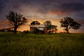 Sunset Old Abandoned Farm House Royalty Free Stock Photo