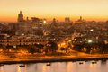 Sunset in Old Havana with a view of  the bay Royalty Free Stock Photo