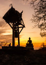 Sunset old temple wat praputtachai of saraburi province thailand Royalty Free Stock Image