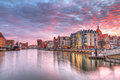 Sunset old town gdansk motlawa river poland Stock Image