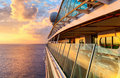 Sunset from the open deck of luxury cruise ship Royalty Free Stock Photo
