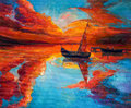 Sunset original oil painting of boats and jetty pier on canvas rich golden over ocean modern impressionism Stock Images