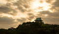 Sunset osaka castle gaze afar the on the hill in time Stock Image