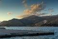 Sunset over Ainos Mountain from Argostoli town,  Kefalonia, Greece Royalty Free Stock Photo