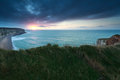 Sunset over atlantic ocean in france etretat normandy Stock Photo