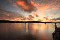 Sunset over beautiful bensville central coast australia sunsetover the oyster farms situated on the nsw Royalty Free Stock Photo
