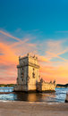 Sunset over belem tower on a lisbon portugal Royalty Free Stock Images