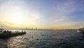 Sunset over bosphorus strait in istanbul turkey Royalty Free Stock Images