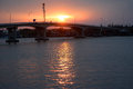 Sunset over the bridge red at klongklone samutsakorn thailand Stock Image