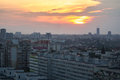 Sunset over Bucharest Stock Photo