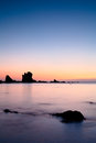 Sunset over Cantabric Sea in Silent Beach Royalty Free Stock Photo