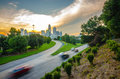 Sunset over city sun setting charlotte north carolina a major metropolitan Stock Image