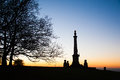 Sunset over the Coombe Hill Memorial in the Chiltern Hills Royalty Free Stock Photo