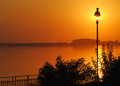Sunset over Danube Royalty Free Stock Photo