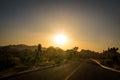Sunset over Desert Highway Royalty Free Stock Photo