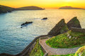 Sunset over dunquin bay on dingle peninsula co kerry ireland Royalty Free Stock Photos
