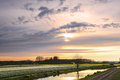 Sunset over a dutch flower field with tulips Royalty Free Stock Photo
