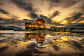 Sunset over Eilean Donan Castle in Scotland Royalty Free Stock Photo