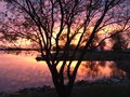 Sunset over El Dorado Lake Royalty Free Stock Photo