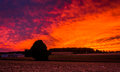 Sunset over a farm in rural york county pennsylvania Royalty Free Stock Images