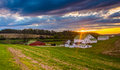 Sunset over a farm in rural York County, Pennsylvania. Royalty Free Stock Photo