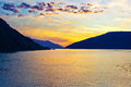 Sunset over fjord Royalty Free Stock Photo