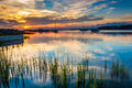 Sunset over the Folly River, in Folly Beach, South Carolina. Royalty Free Stock Photo