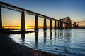Sunset over the Forth Road Bridge Royalty Free Stock Photo