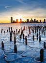Sunset over Frozen Hudson River and Jersey City Royalty Free Stock Photo