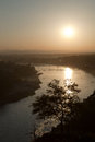 Sunset over the ganges in rishikesh india Stock Photos