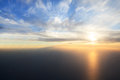 Sunset over gulf view plane uae Royalty Free Stock Photos