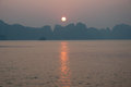 Sunset over Halong Bay in Vietnam Royalty Free Stock Photo