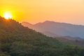 Sunset over hills sun setting lush green in the sierra nevada de santa marta mountain range in colombia Stock Photography