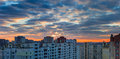 Sunset over the housing estate with modern apartment buildings Royalty Free Stock Photo