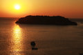 Sunset over island,Crete, Greece Royalty Free Stock Photo