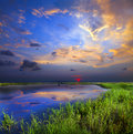 Sunset over lake this is Royalty Free Stock Photo