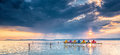 Sunset over lake Balaton, Hungary Royalty Free Stock Photo
