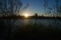 Title: Sunset over lake bank