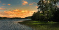 Sunset over the lake Royalty Free Stock Photo
