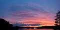 Sunset over lake bright red panorama Stock Photos