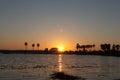 Sunset over lake at dusk background Stock Photography