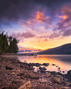 Sunset over lake mcdonald colorful in glacier national park Royalty Free Stock Photo